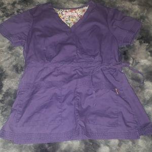 Koi side-tie faux wrap scrub top